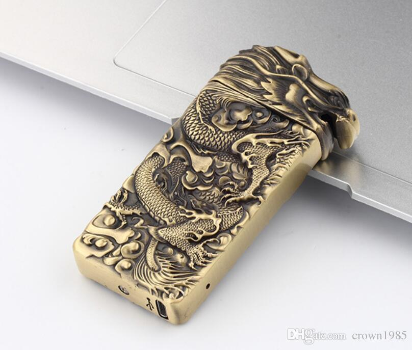New Electric Dragon Shake USB ARC PULSE LIGHTER Rechargeable Flameless G-sensor TOP