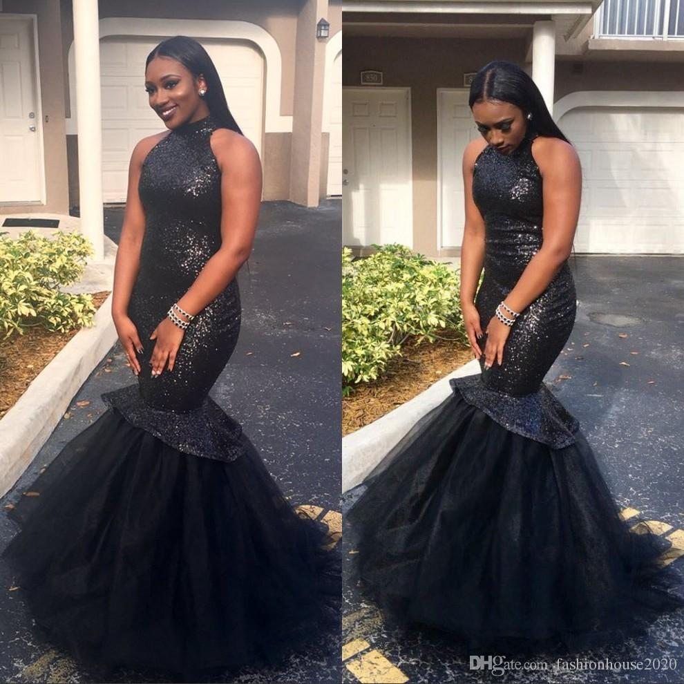 Sparkly Sequined Little Black Long Prom Dresses Mermaid ...