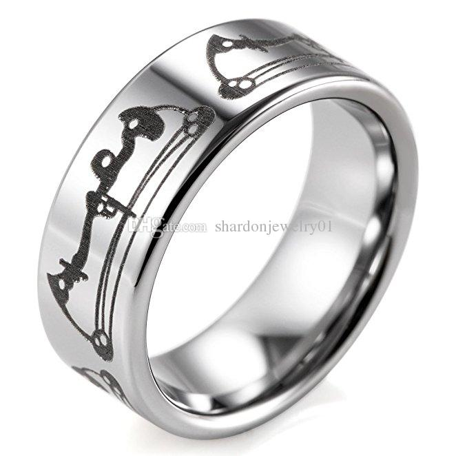 SHARDON wholesale Mens 8mm width Tungsten steel wedding Rings with Laser Engraved Bows Pattern