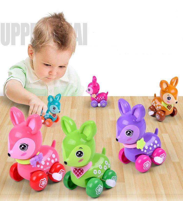 Lovely wind up toy animal funny baby Zoo Baby deer design Running Clockwork Spring Toy newborn baby clockwork toy Color Random