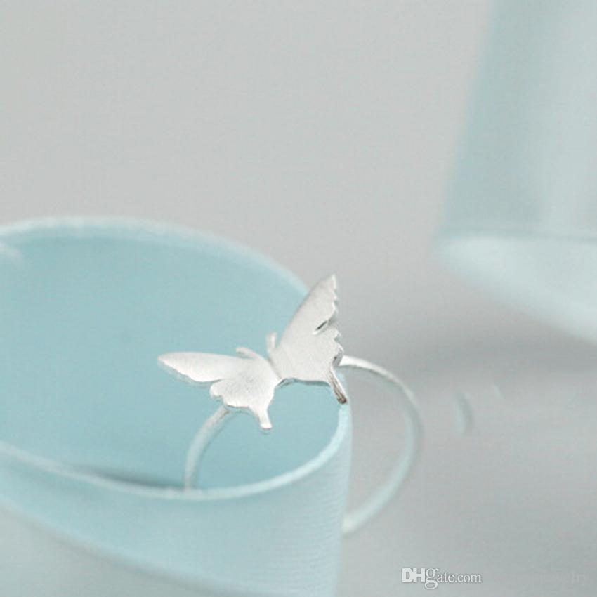 New Arrivals Pure 925 Sterling Silver Butterfly Rings Adjustable Open Real Silver Ring For Girl Women Gift Statement Jewelry