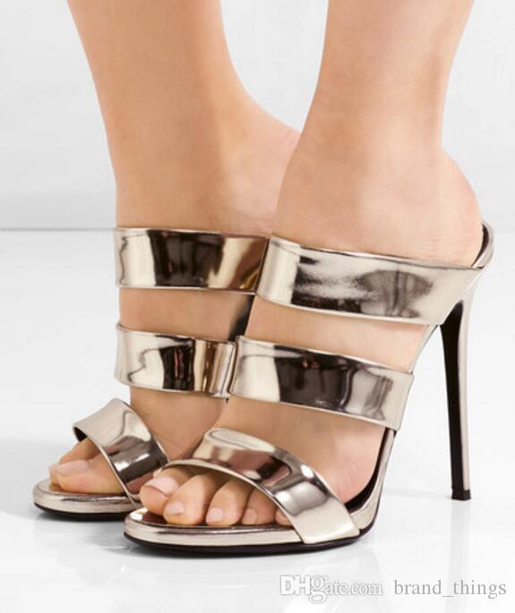 2017 gladiateur sandales d'or talons hauts de la mode chaussures d'été dames pompes talon mince glisse sandale chaussures de soirée à talons hauts