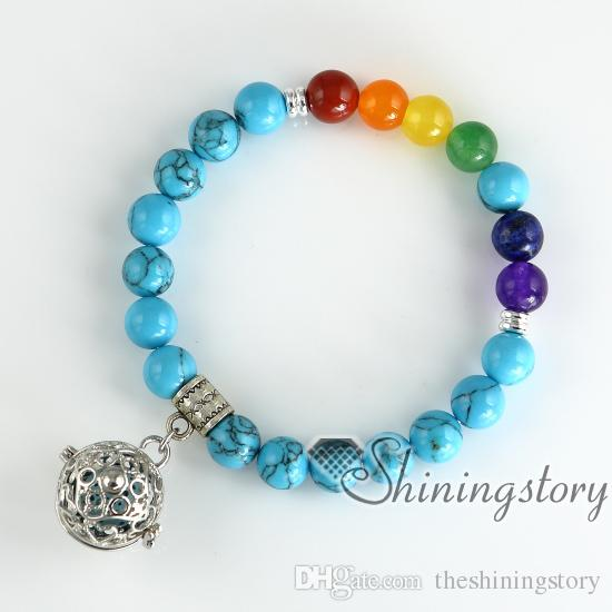 Chakra pulseira sete chakra balanceamento de jóias pulseira de óleo essencial aromaterapia jóias meditação jóias pulseiras de birthstone