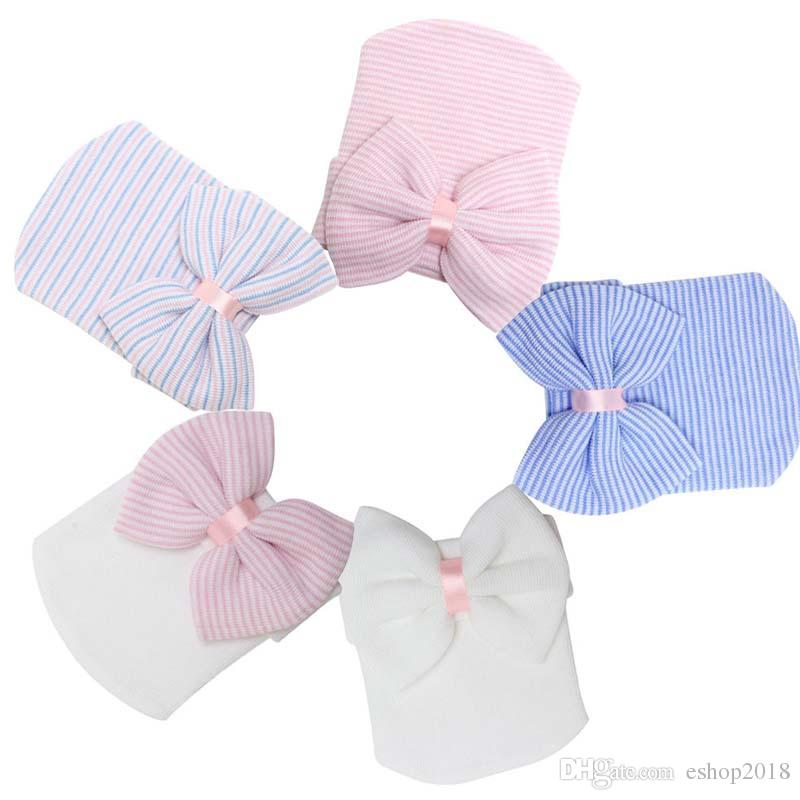 Spring Autumn Baby Big Hair Bow Knitted Hats Soft Cotton Unisex Toddlers Hat For Newborn Babies Cute Stripe Infants Caps