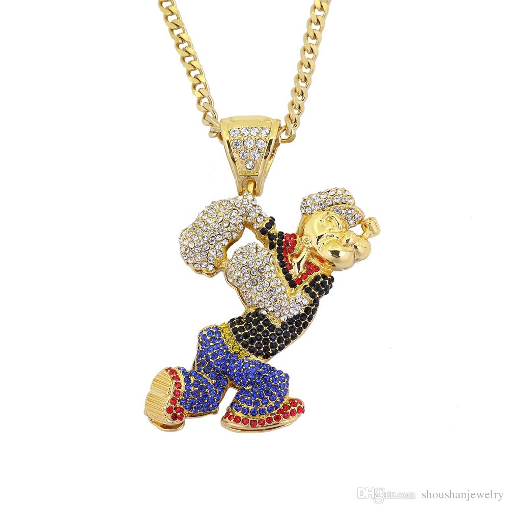 Bling Bling Iced Out Large Size Cartoon Movie Crystal pendant Hip hop Necklace 30inch stainless steel cuban chain N634B