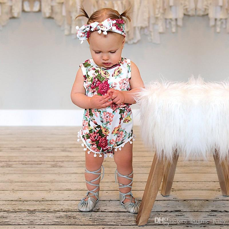 98c3799cffc9 2019 2017 Baby Clothes Kids Boutique Clothing Baby Girl Tassel Romper  Newborn Pompon Infant Cotton Jumpsuit Flower Bodysuit Floral Rompers From  Hugme_baby, ...