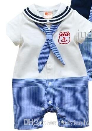 Zomer baby kleding kinderen jumpsuits marine revers streep korte mouw baby rompertjes 2 kleur 3 maat 6 stks / partij
