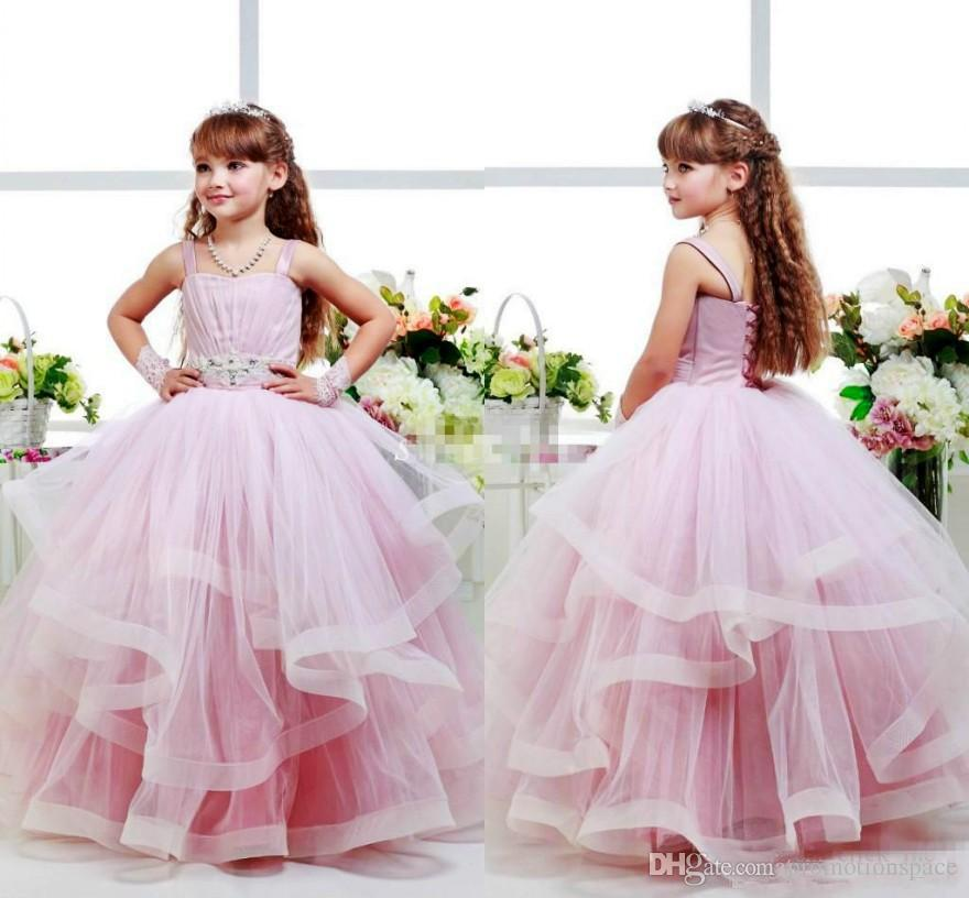 4b7f0e4badbd Pink Flower Girls Dresses Ball Gowns Spagheti Strap Kid Party ...