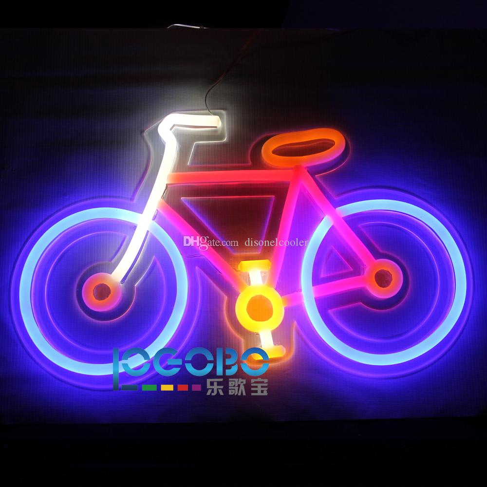 Barato Personalizado Bicicleta Fluorescente Luz de Neón Fresca Luces Led para Club Shop Bar Motel Decoraciones de Fiesta en Casa 20 pulgadas x 12 pulgadas