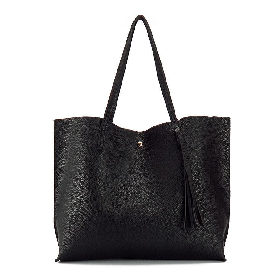 Artificial Leather Hand Bag Female Tassel Handbag Woman New Arrival Rivet  New Big Shoulder Bag 2017 Designer Ladies Totes Side Bags Handbag Brands  From ... bdd4dc6a8bec0