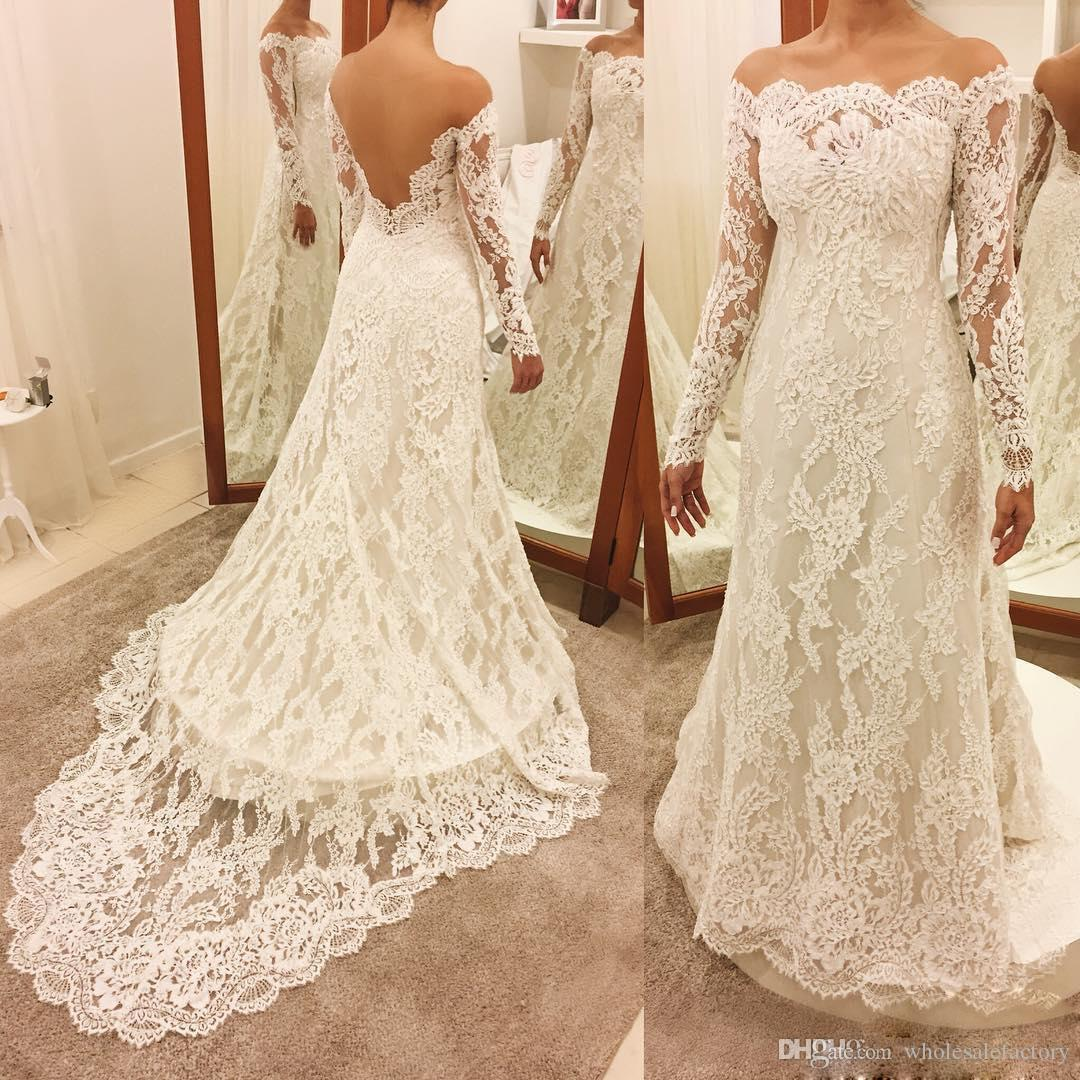 Modest Mermaid Wedding Dresses Long Sleeves Bateau Wedding Dresses with Lace Appliques Illusion Back Unique Wedding Gowns For Sale