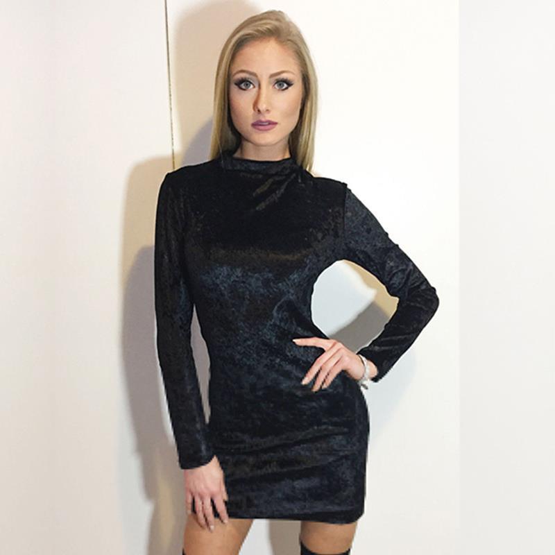 458493c94d7 New Autumn Sexy Velvet Dresse Women Long Sleeve Turtleneck Dress For Party  Club Elegant Bodycon Mini Pencil Dress WS3453O Teens Party Dresses Juniors  ...