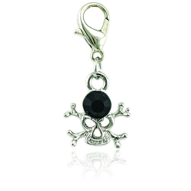 الأزياء الفضة مطلي المشبك جراد البحر سحر استرخى الأسود حجر الراين مثقوب الجمجمة سحر ل diy مجوهرات صنع الاكسسوارات