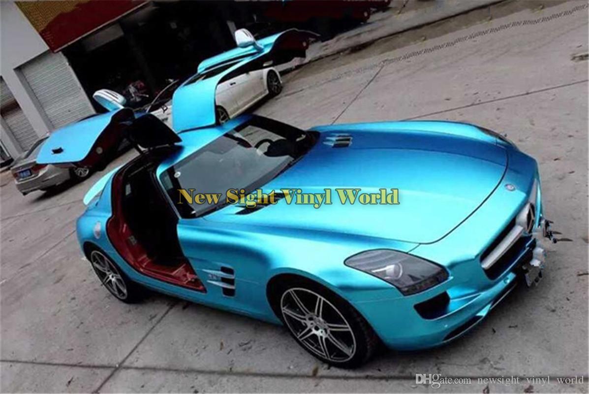 Matte Blue Car >> High Quality Crystal Blue Matte Metallic Satin Chrome Vinyl Car Wrapping Film Folie Bubble Free For Car Sticker