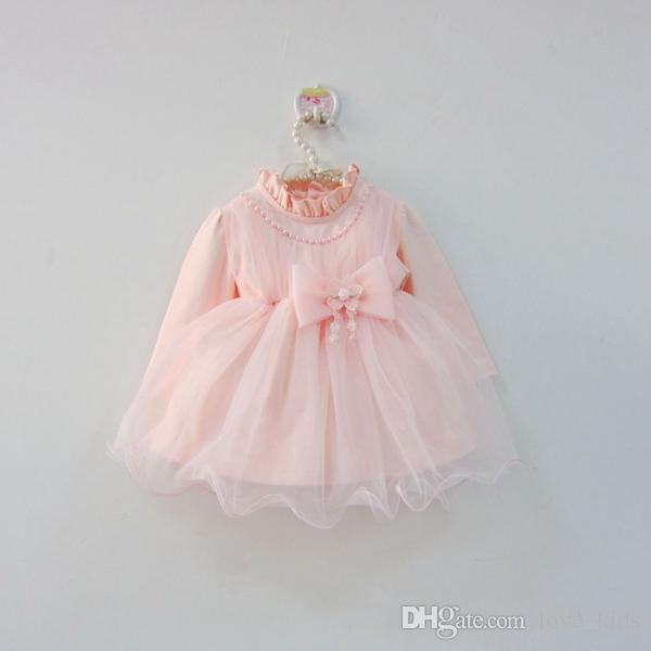 853c0a8a6b678 Newborn baby girl's princess long sleeve dress toddler birthday party  dresses kids tutu skirts with pearl big bow babies Christmas dress
