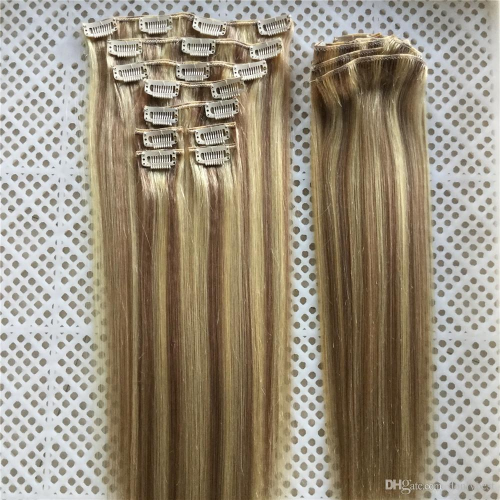 "14""-26"" 9pcs/Set 18 Clips 100G Piano Color #18/613 Clip in Human Hair Extensions Brazilian REMY Clip in Hair Extensions"