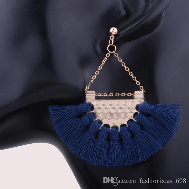 Fashionable fan-shaped tassel earrings Women girls upscale Bohemian earrings exaggerated fashion exaggerated earrings accessories