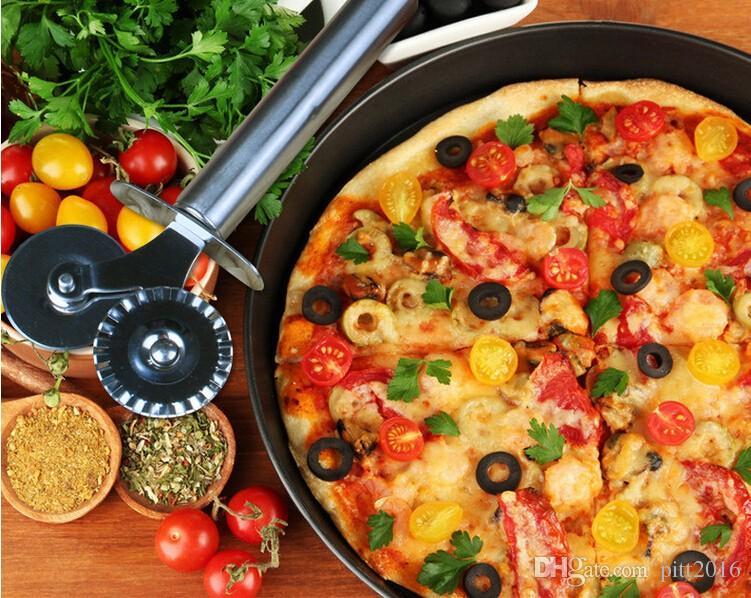 100 Unids Cuchillo de Pizza de Acero Inoxidable Doble Ruedas Hob Cutter 2017 Creativo Cuchillo de Cocina Para Pasta de Pizza Pasta Pasteles