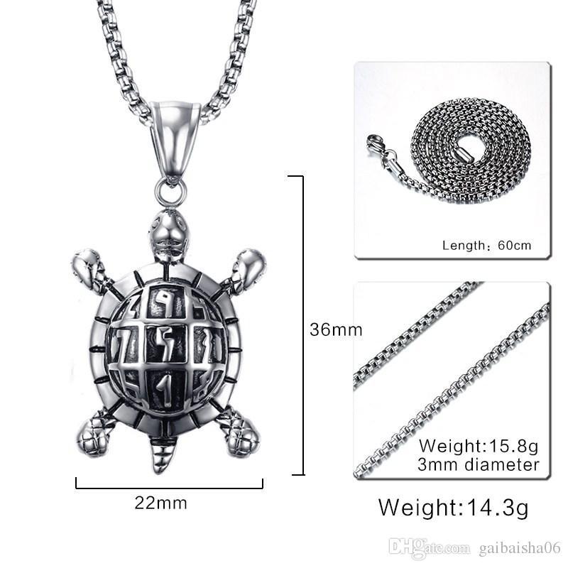 Модные мужские ожерелья из нержавеющей стали морская черепаха кулон ожерелье для мужчин Винтажные ювелирные изделия здоровье и долговечность PN-709