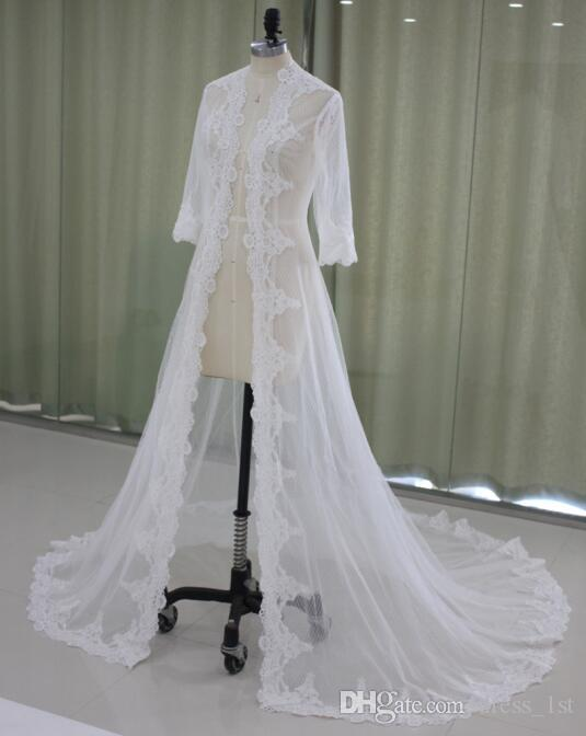fd63ca4f15b 2019 2017 Lace Bridal Jackets Long Sleeves Bridal Coat Sweep Train Wedding  Capes Wraps Bolero Jacket Wedding Dress Wraps Shrugs EN9145 From Dress 1st