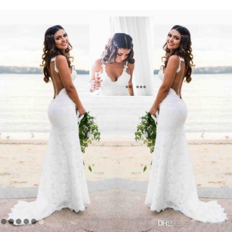 Romantic Lace Mermaid Wedding Dresses Sweetheart Open Back Country ...
