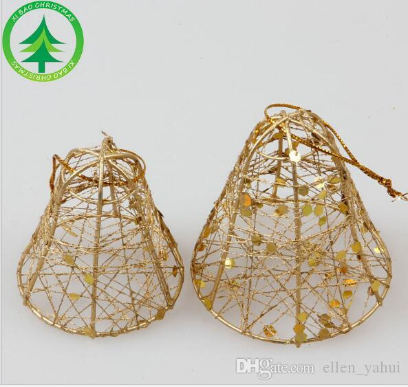 Christmas Decorations Christmas Tree Hanging Ornament PVC Boxed Christmas Bells Bronze Wire with Sequins Tree Pendant Antique clock