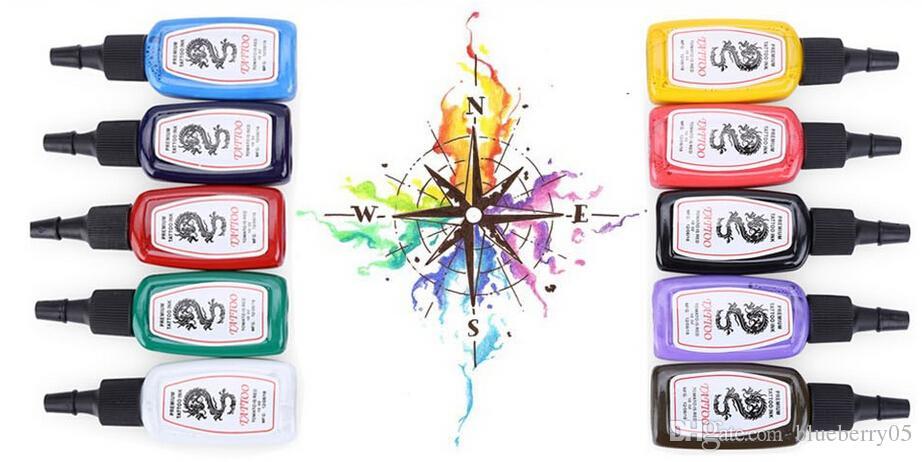 الألوان مشرق دائم كاملة حبر الوشم صبغات كيت الحاجب الشفاه ماكياج الحبر الدائم للوشم أحبار الجسم 10 قطعة / المجموعة مجانية