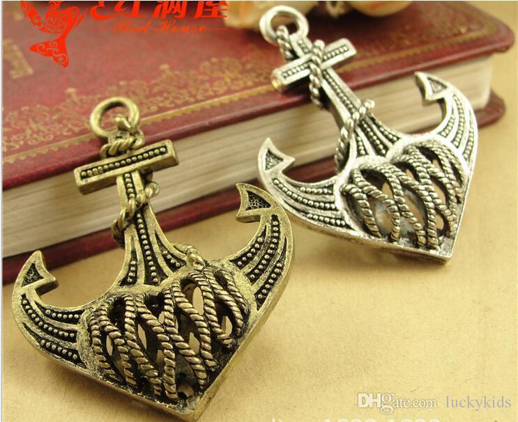 35*46MM Antique Bronze 3D filigree hollow anchor charm pendant beads, Korea retro nautical jewelry wholesale, nautical items