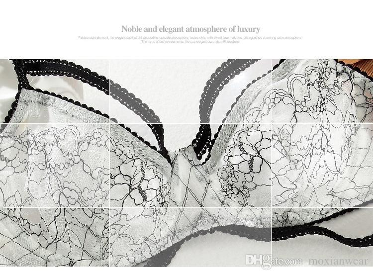 weißer ultradünner transparenter Unterwäsche-Büstenhalter reizvoller Schwamm dünne Sätze Büstenhalter-transparenter Spitzendruck schön und reizend MOXIAN 2047