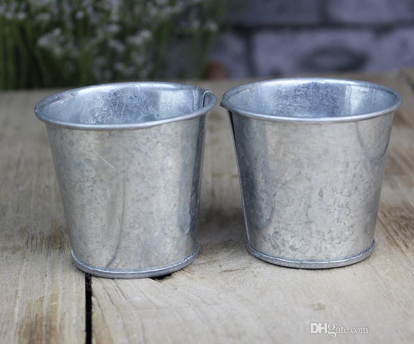 Coppa in metallo Pentole succulente galvanizzate a buon mercato Vintage Nostalgia rustica Mini giardino in argento Carino Piantatrice di latta Mini secchi zincati