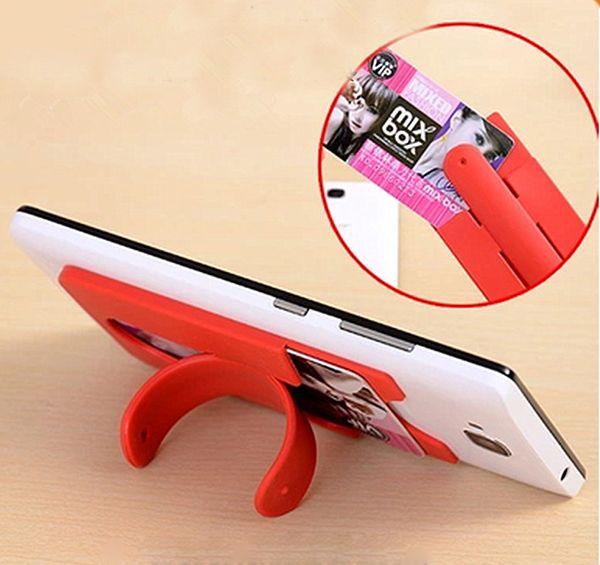 Yapıştırıcı Silikon Kredi Kartı Geri Tutucu One Touch C Standı Cep Telefonu Sahipleri Evrensel iPhone 7 Samsung Huawei Smartphone için Toptan