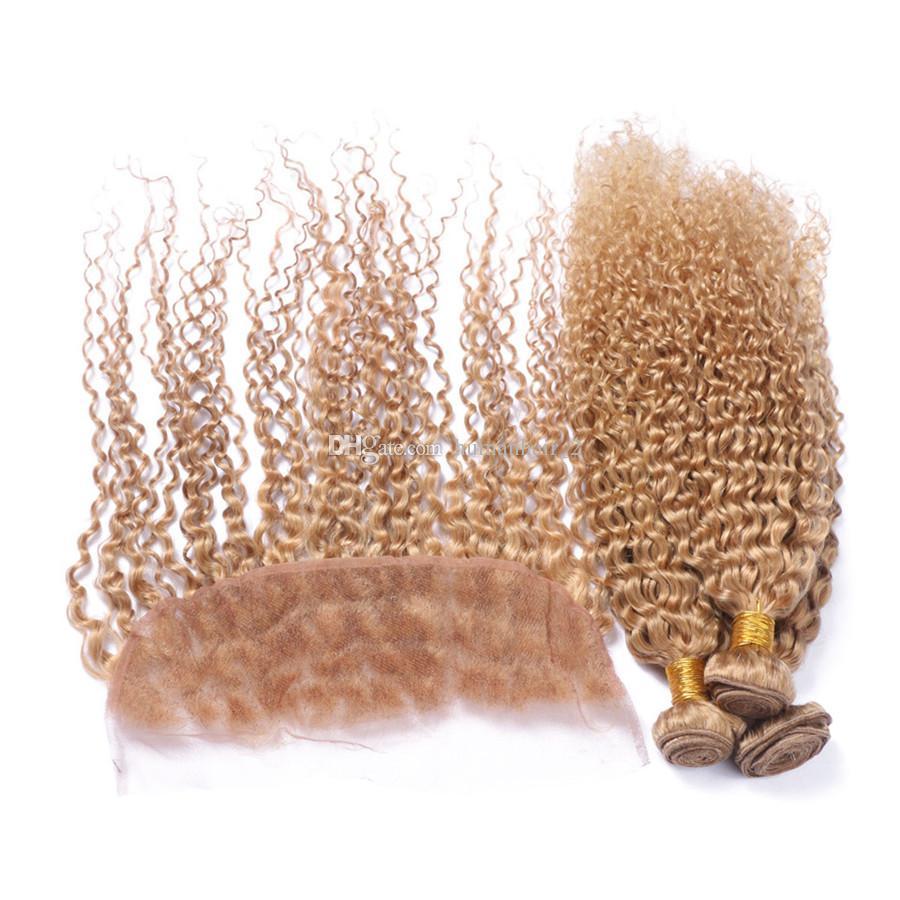 Afro Kinky Кудрявые клубничные вьющиеся волосы с фронтальной кружевной отделкой # 27 Honey Blonde Кудрявые вьющиеся волосы девственницы с фронтальной застежкой на шнурках