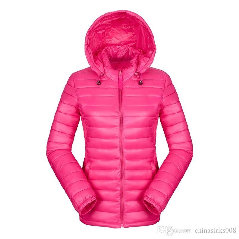 3afc12fded Piumino da donna ultraleggero con cappuccio invernale piumino in cotone  Giacche da donna a manica lunga slim manica lunga con zip 2016 tasche tinta  ...
