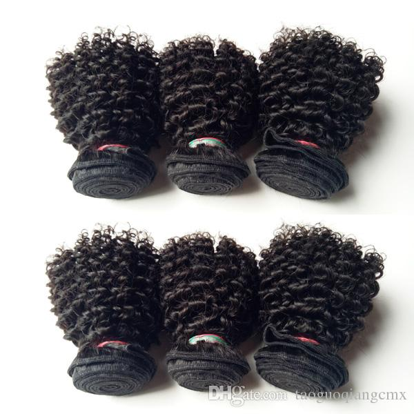 European Brazilian virgin Human Hair Wefts Kinky Curly 6Bundles 8-12inch hair extensions Malaysian Indian remy Hair weaves 50g/pc 300g