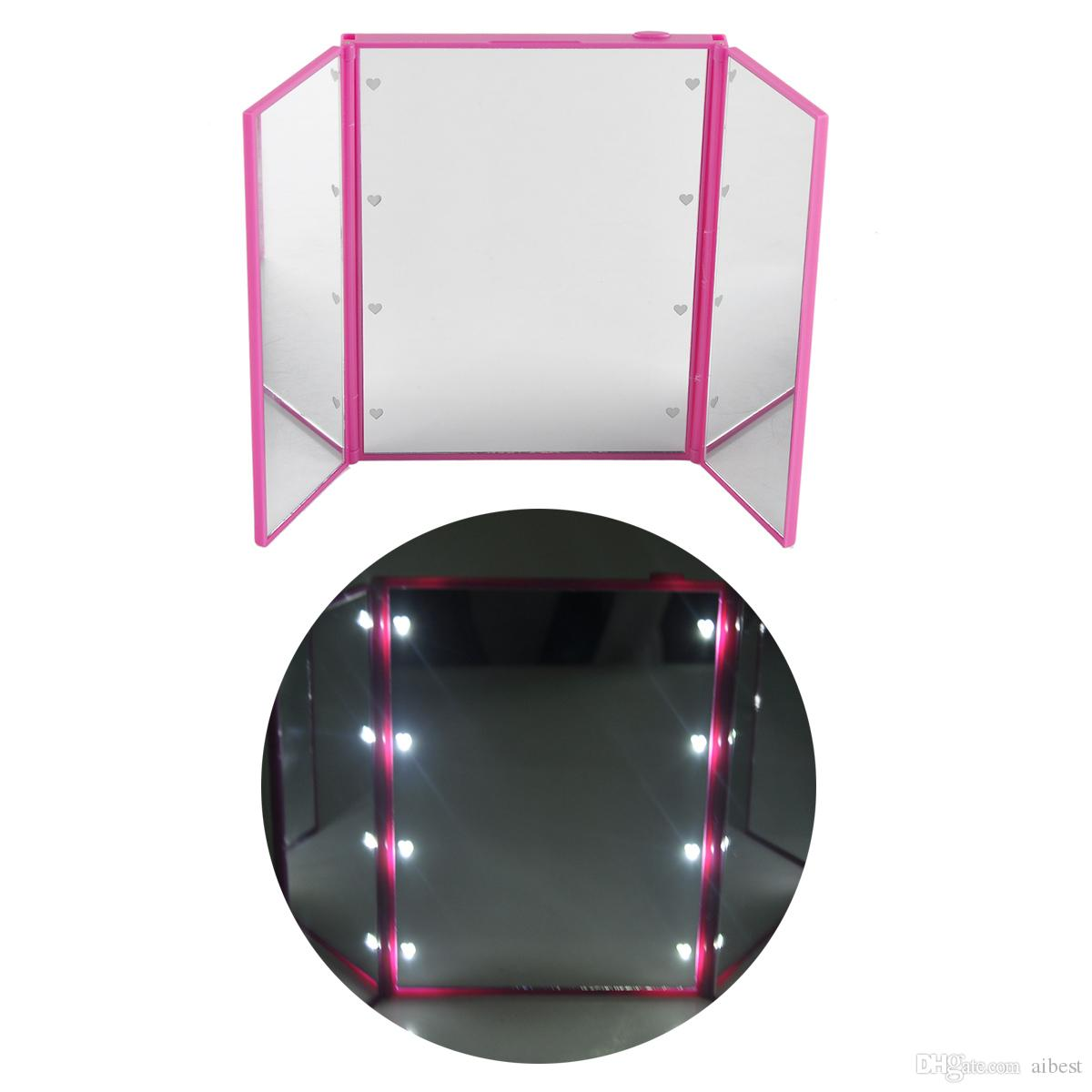 8 LED makeup mirror LED make up mirror foldable inside battery mini foldable Portable Folding Compact Cosmetic with LED Light retail box