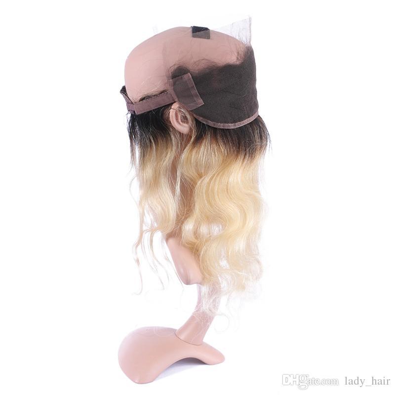 # 1B / 613 شقراء أومبير الشعر البرازيلي 3 حزم مع 360 الفرقة الدانتيل أمامي موجة الجسم اثنين لهجة الرباط أمامي 360 الرباط اختتام مع ينسج