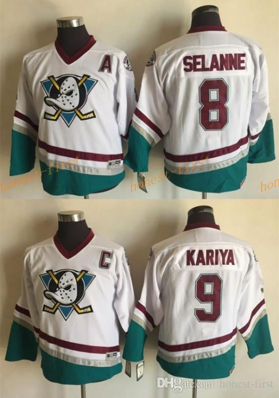 1c31edc0 ... 2017 Youth Kids Anaheim Ducks 8 Teemu Selanne 9 Paul Kariya White Ccm  Throwback Hockey Jerseys .