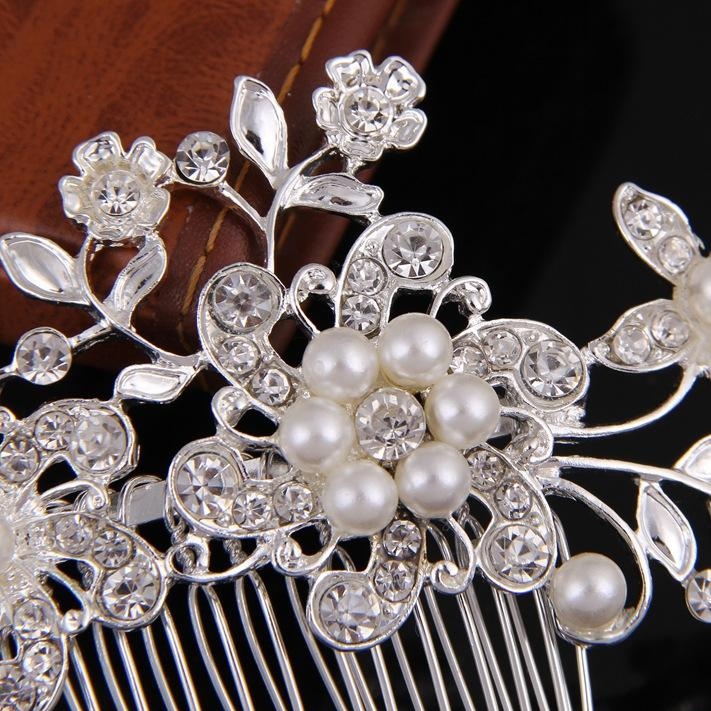 Crystal Pearl Hair Comb Bridal Wedding Hair Jewelry Silver Pearl Flower Tiaras Crown Women Party Headpiece Hairpins