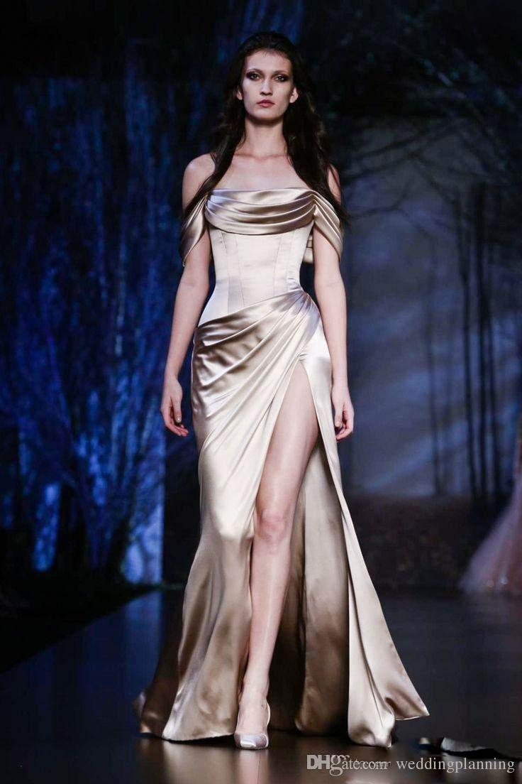 Ralph & Russo Couture Fall Winter Prom Dresses New Off the Shoulder Party Evening Dresses with High Slit Sheath Celebrity Dresses