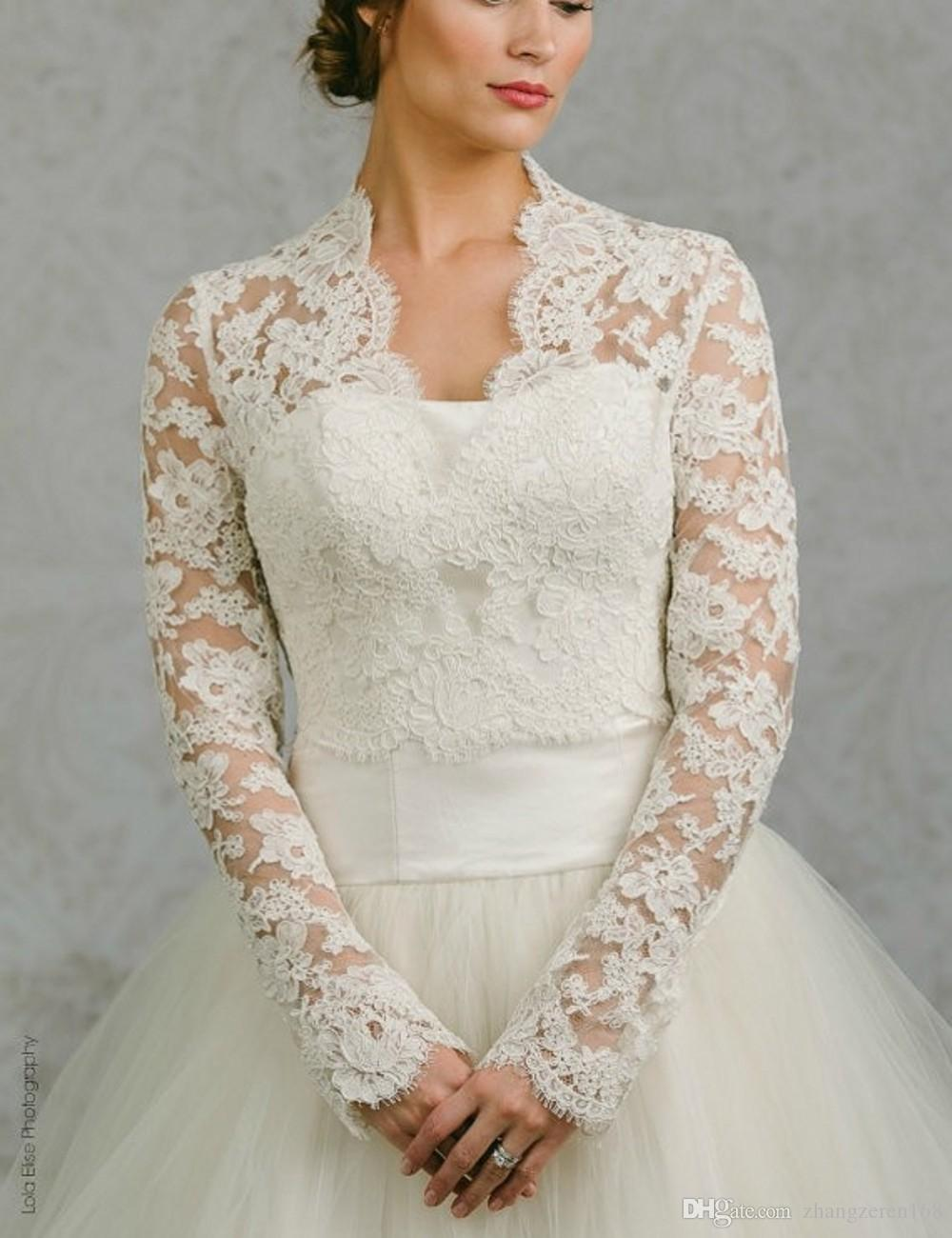 Full Sleeves Wedding Bolero Jackets Mesh Lace Bridal Accessories Jacket For Prom Bridal Dresses V-neckline Bolero Jacket