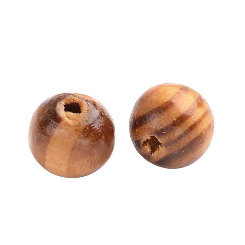 200 قطع 8 ملليمتر رسمت الخشب الطبيعي الخرز جولة فضفاض خشبي حبة السائبة الكثير الكرة لصنع المجوهرات الحرفية الشعر diy قلادة
