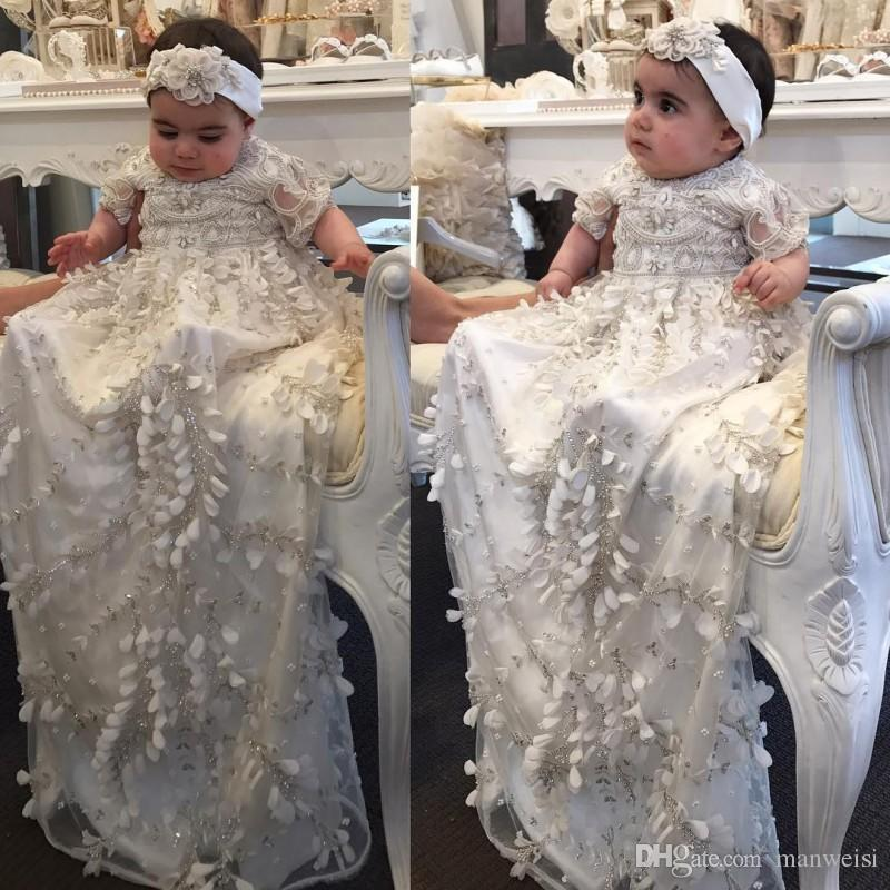 Classy 2018 Crystal Christening Gowns For Baby Girls 3D Floral ...