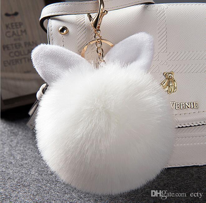 Artificial Gold Rabbit Fur Ball Keychain fluffy keychain fur pom pom llaveros portachiavi porte clef Key Ring Key Chain Rabbit Fur Ear Plush