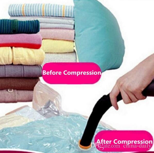 Navio livre Impresso Vacuum Compressed Compression Bag Saco De Armazenamento Dobrável Salvando Espaço Seal Sacos de Roupas de Viagem Organizador Saco