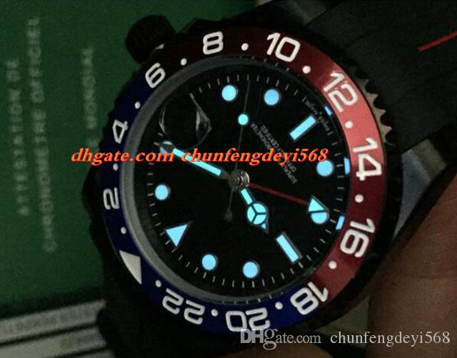 Moda de Lujo 2017 116719 Recubrimiento PVD Rojo Azul Bisel de Cerámica Pulsera de Caucho 40 MM Movimiento Automático Relojes de Los Hombres Nueva Llegada