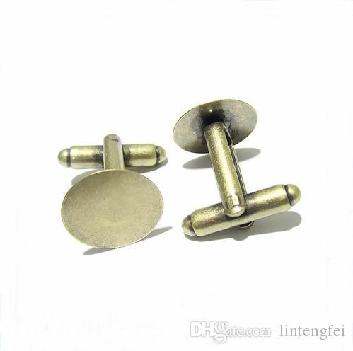 50 adet / grup 15mm Fransız Tarzı Kol Düğmesi Ayarları Boş Yuvarlak Ped Tepsi DIY Elbise Aksesuarları Için Cabochon Baz