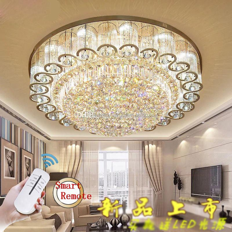 Round Crystal Chandeliers Fashionable Flush Mount Ceiling