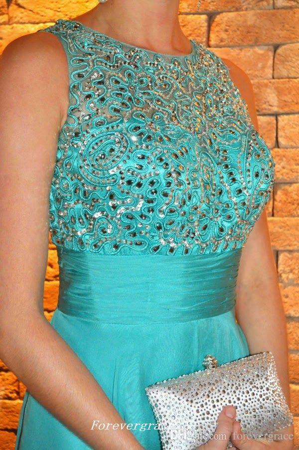 Menta verde largo gasa vestido de fiesta sexy una línea apliques con cuentas mujeres visten ocasión especial vestido de fiesta por encargo más tamaño