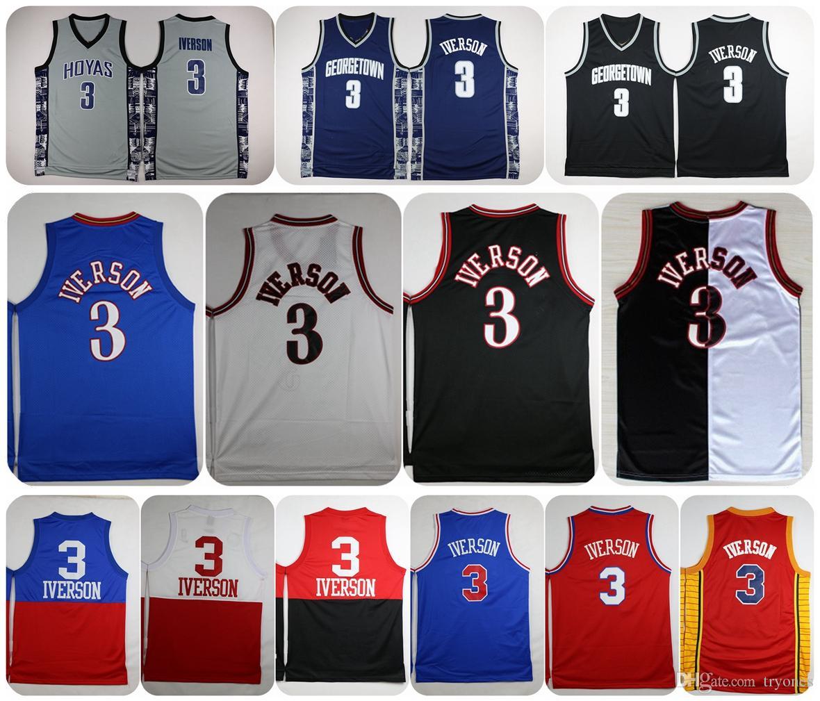 d1f44dd1825 ... 2017 Georgetown Hoyas Allen Iverson College Basketball Jersey  University 3 Allen Iverson Throwback Shirts Cheap Retro ...