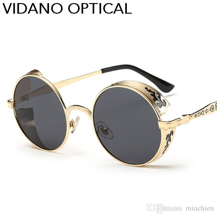 738c62b8fdca Vidano Optical Latest High Quality Luxury Fashion Round Steampunk Sunglasses  For Men   Women Sun Glasses Latest Designer Shades UV400 Sun Glasses Eyewear  ...